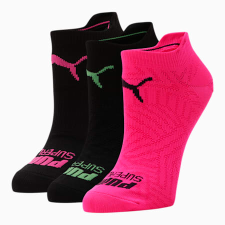 Women's No Show Socks [3 Pack], BRIGHT PINK, small